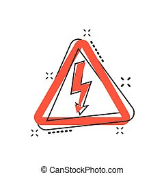 Vector cartoon high voltage danger icon in comic style....