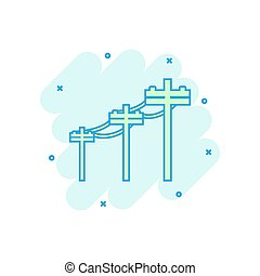 Vector cartoon high voltage power lines icon in comic style....