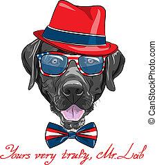 vector cartoon hipster dog Labrador - smiling black hipster ...
