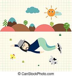 hipster man sleep in wild
