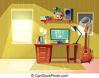 Vector cartoon home office interior, workplace