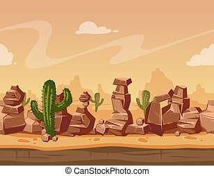 Vector cartoon horizontal seamless landscape with stones and cactus. Game wild background illustration