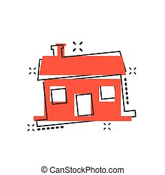 Vector cartoon house icon in comic style. Building sign illustration pictogram. House business splash effect concept.