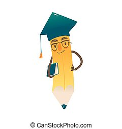 Vector cartoon humanized pencil in cap and glasses
