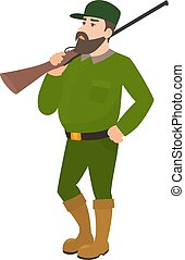 Vector cartoon hunter green uniform hunting rifle