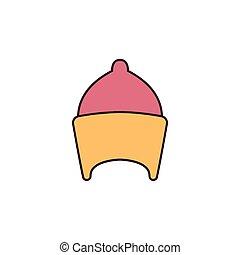 vector cartoon icon - Egyptian hat icon in cartoon style....