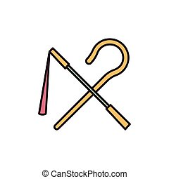 vector cartoon icon - Egyptian rod and whip icon in cartoon...