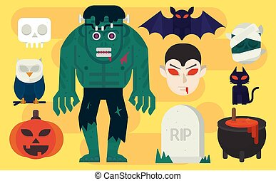 Vector cartoon illustration Halloween Elements