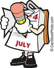 Vector cartoon illustration mark calendar hand with pencil