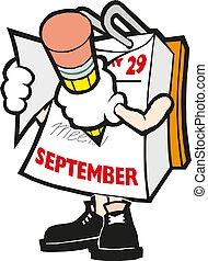 Vector cartoon illustration mark calendar September hand with pencil
