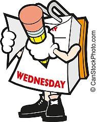 Vector cartoon illustration mark calendar Wednesday hand with pencil