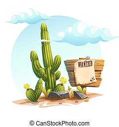 Vector cartoon illustration of a cactus, Wanted