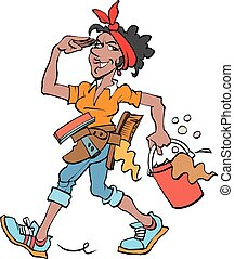 Vector cartoon illustration of a Cleaning lady at work dark
