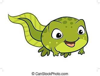 Vector cartoon illustration of a cute happy tadpole