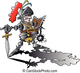 Vector cartoon illustration of a Dangerous proud Knight with armour