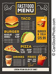 Vector cartoon illustration of a design fast food restaurant menu