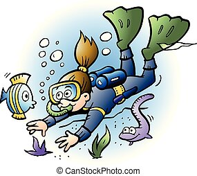 Vector Cartoon illustration of a Diver looking at colorful...