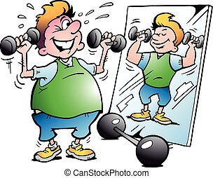 Fat Motion Man making Fitness - Vector Cartoon illustration ...