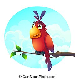 Vector cartoon illustration of a funny parrot on a branch