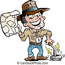Vector Cartoon illustration of a Happy Archaeologist With a Metal Detector