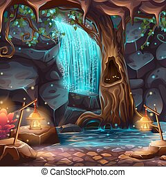 Vector cartoon illustration of a magical waterfall in a...