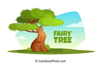 Vector cartoon illustration of a tree in the meadow.