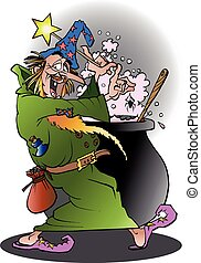 Wizard in action - Vector cartoon illustration of a Wizard...