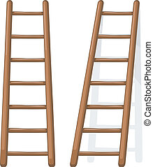 Vector cartoon illustration of a wooden staircase