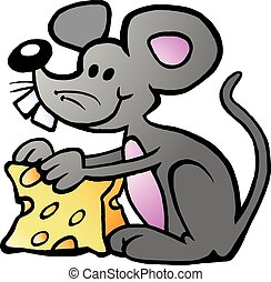 Vector Cartoon illustration of an happy Mouse eating Cheese