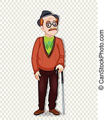 elderly full length man with glasses and walking cane -...