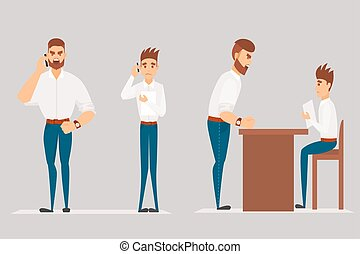 Vector cartoon Illustration of angry man scolds worker. Boss man character screams on worker