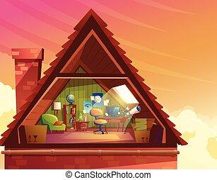 Vector cartoon illustration of attic, mansard, loft under...