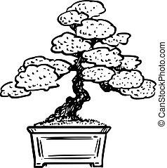 Vector Cartoon Illustration of Bonsai Pine Tree