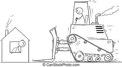 Vector Cartoon Illustration of Bulldozer Moving To Demolish Small Family House
