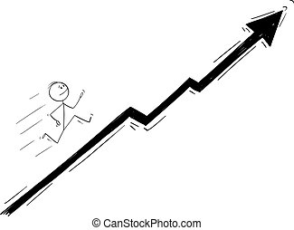 Vector Cartoon Illustration of Businessman Running Up the Chart or Graph