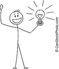 Vector Cartoon Illustration of Celebrating Creative Man or Businessman with Idea or Solution Holding Shining Light Bulb
