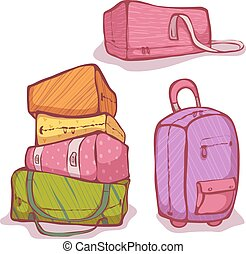 Vector cartoon illustration of color bags set