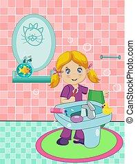 cute blonde  little girl dressed in pajamas brushing teeth