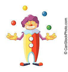 Vector cartoon illustration of cute clown on white background.