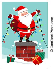 Vector cartoon illustration of cute happy Santa Claus standing on chimney holding multicolored light string garland decoration. Christmas festive winter scene in contemporary flat style.