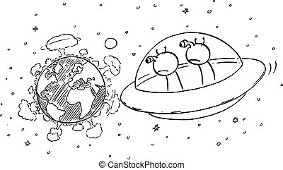 Vector Cartoon Illustration of Funny Aliens in UFO or Flying Saucer Watching From Space Nuclear War Explosions on Planet Earth.