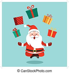 Vector cartoon illustration of funny cute Santa Claus ...