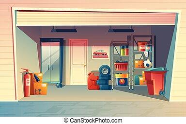 Vector cartoon illustration of garage interior, storage room...