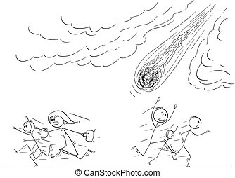 Vector Cartoon Illustration of Group of People or Crowd Running Away in Panic From Falling Meteorite or Asteroid Crashing to Earth