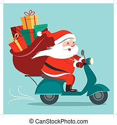 Vector cartoon illustration of happy Santa Claus with a gift...