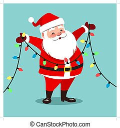 Vector cartoon illustration of happy smiling Santa Claus holding a string light garland decoration with multicolored bulbs. Christmas winter holidays festive design element, isolated on aqua blue.