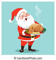 Vector cartoon illustration of happy smiling Santa Claus ...