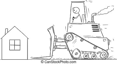 Vector Cartoon Illustration of House Owner Looking Shocked at Bulldozer Moving To Demolish His Small Family House