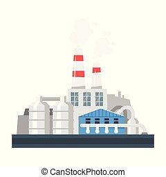 illustration of industrial plant. - Vector cartoon...