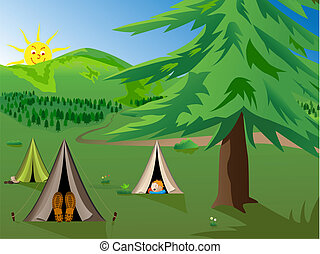 camping - vector cartoon illustration of kids camping in the...